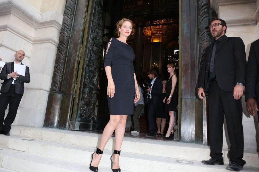 Uma Thurman, au défilé Versace