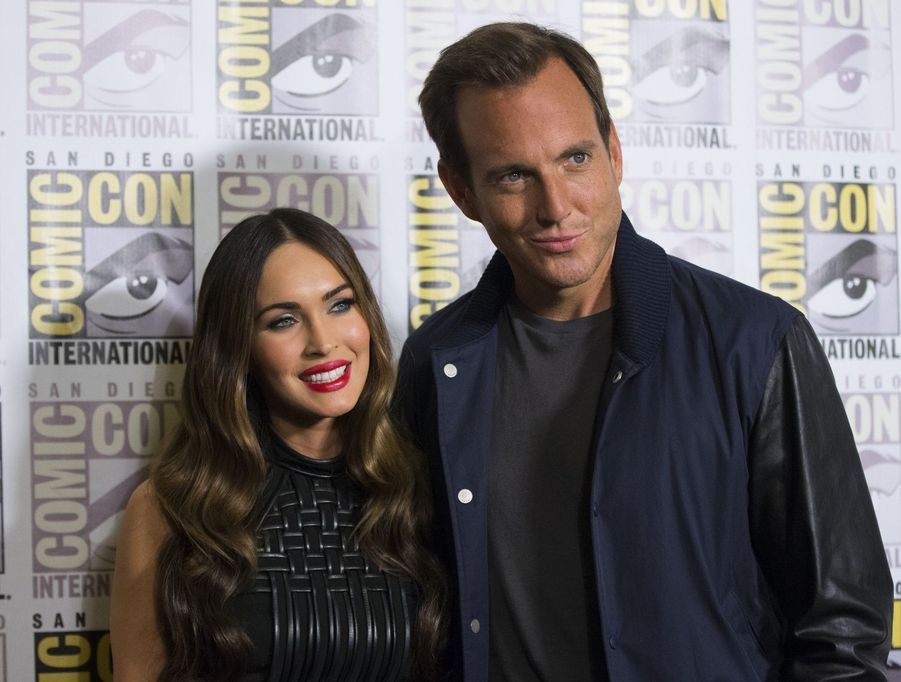 "Megan Fox et Will Arnett (""Teenage Mutant Ninja Turtles"") lors du Comic-Con 2014, à San Diego le 24 juillet 2014"