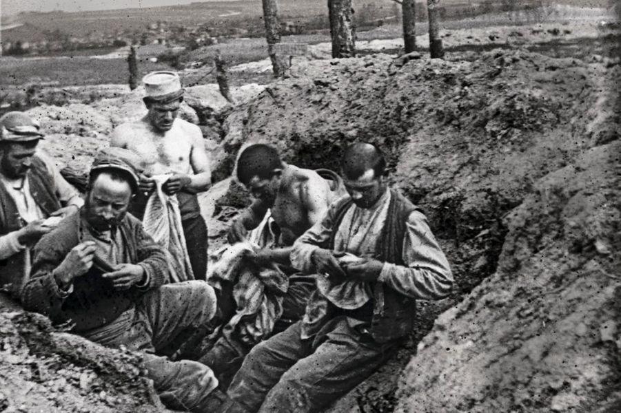 Les premières tranchées françaises sont creusées à la hâte, inorganisées. Les hommes traquent sans relâche les poux et les lentes qui se cachent dans les coutures.