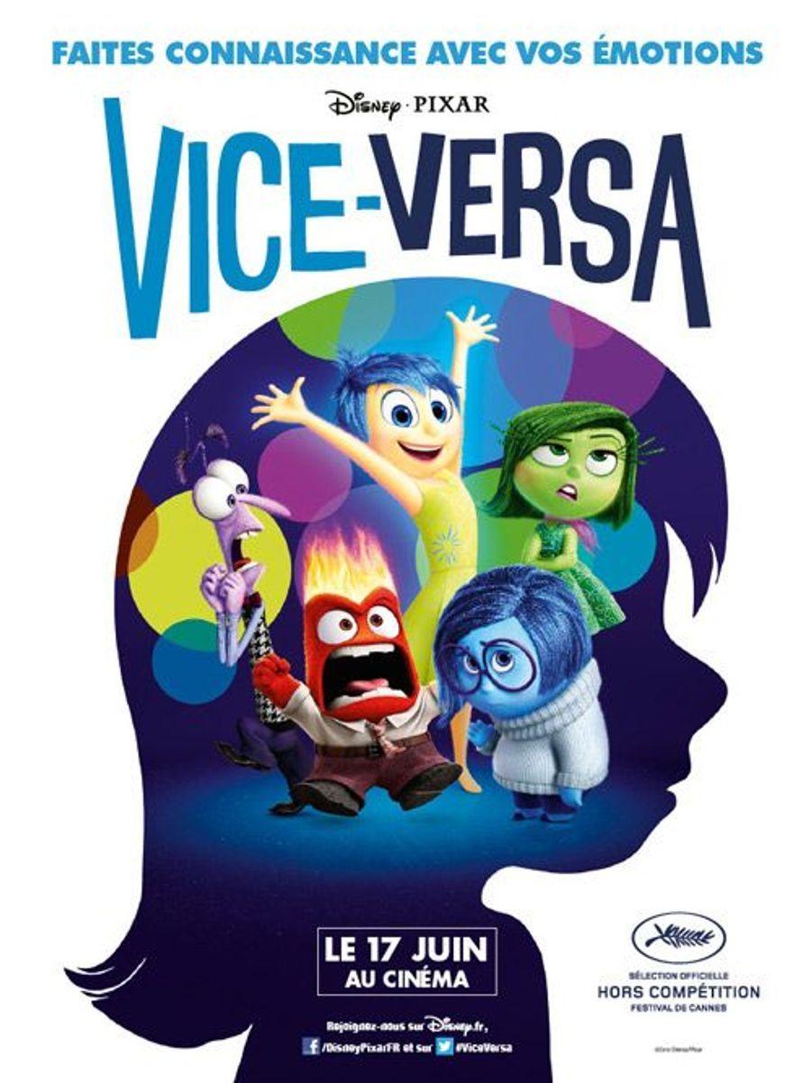 Le 17 juin 2015, sortira dans nos salles «Vice-Versa», le nouveau film d'animation des studios Disney et Pixar. Mais auparavant, il sera présenté en «Sélection Officielle Hors Compétition» au 68e Festival de Cannes. Pour l'occasion, l'équipe de production a concocté des affiches humoristiques reprenant les personnages du dessin animé.Récemment, on apprenait lescinq acteurs de première ordre qui seront les voix françaisesdes émotions de Riley, héroïne de ce nouvel opus.Charlotte Le Bonsera Joie,Marilou Berryest Tristesse,Mélanie Laurentinterprète Dégoût,Gilles Lellouchejoue Colère etPierre Nineyprête sa voix à Peur.Dans «Vice-Versa», Riley emménage à San Francisco, suite à la mutation de son père. On se retrouve dans le «Quartier Général» à l'intérieur de son cerveau, et on suit les versions personnifiées de ses émotions qui la conseillent dans la vie de tous les jours. Sauf que tout se complique quand Joie et Tristesse se perdent accidentellement dans les recoins les plus éloignés de l'esprit de la jeune fille.Ici pas de princesse à sauver ou d'animaux de compagnie, un concept novateur qui devrait connaître le même succès que «Là-Haut», premier film d'animation à faire l'ouverture du Festival français en 2009 et oscar du meilleur film d'animation en 2010. Et tout comme son prédécesseur, ce film d'animation est signé Pete Docter, également réalisateur de «Monstres et Cie» et scénariste de «Wall-E».
