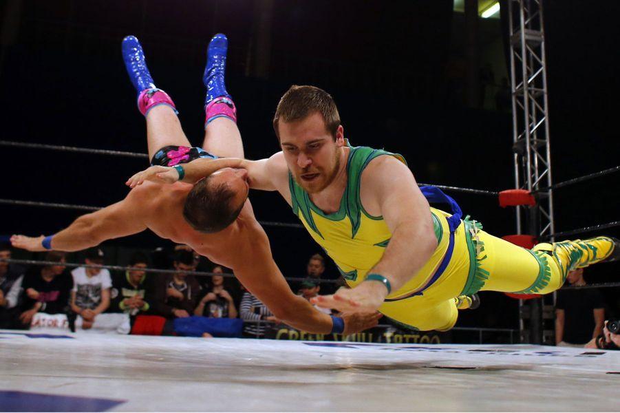 Vols planés durant le championnat de Hongrie de lutte, à Budapest.