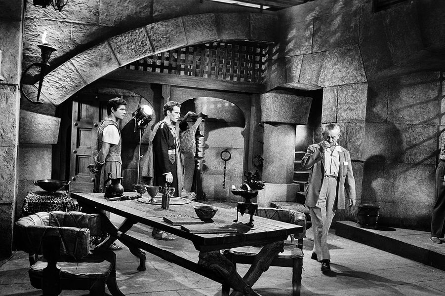 Stephen Boyd (Messala), Chalton Huston (Judah Ben Hur) et le réalisateur William Wyler.