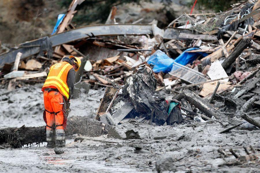 Un pan entier d'une colline surplombant la ville d'Oso, au nord-est de Seattle, s'est effondré samedi sur une rivière voisine, provocant une coulée de boue dévastatrice. Le bilan provisoire est accablant. Au moins 14 personnes sont mortes et 176 habitants sont toujours portés disparus. Depuis, des centaines de pompiers, de secouristes et d'habitants des villes voisines sont venus aider Oso. Objectif: nettoyer les dégâts bien sur, mais surtout tenter de retrouver de possibles survivants.