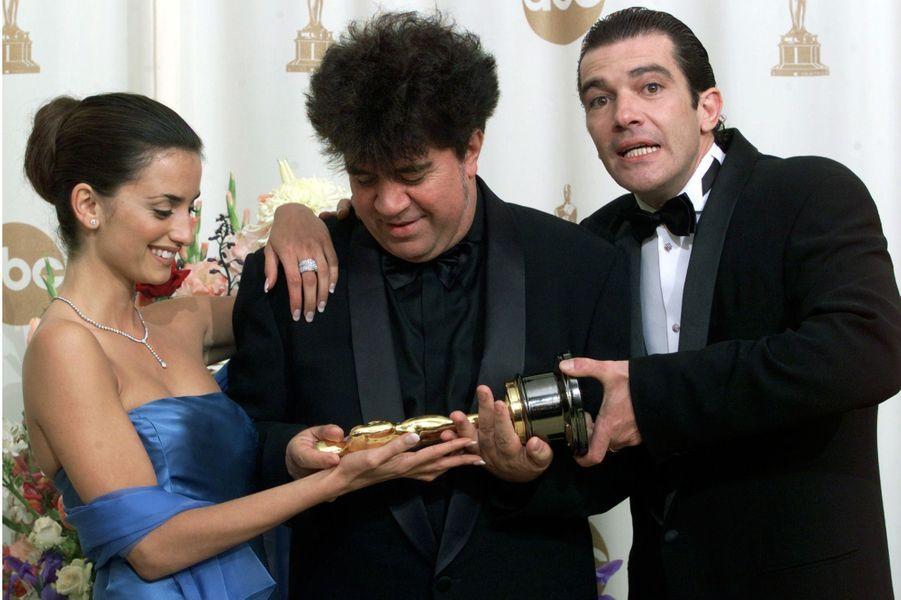 Avec Pedro Almodovar et Antonio Banderas aux Oscars en 2000