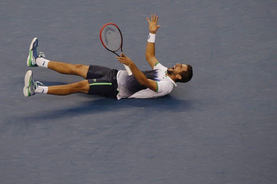 Marin Cilic aux anges après avoir battu le Japonnais Kei Nishikori et remporté l'US Open.