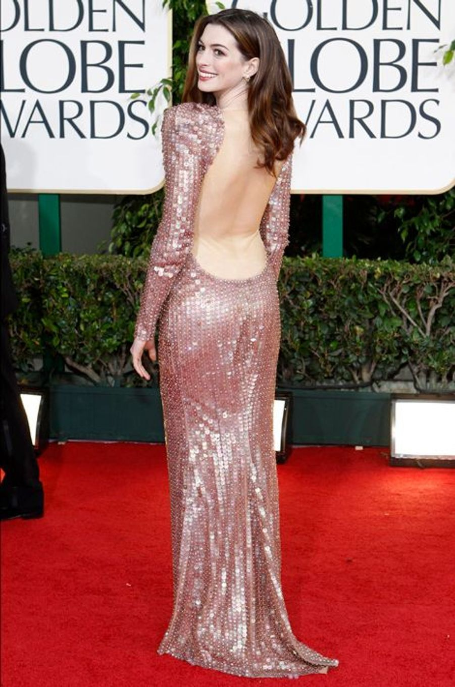 Anne Hathaway aux Golden Globe Awards 2011.