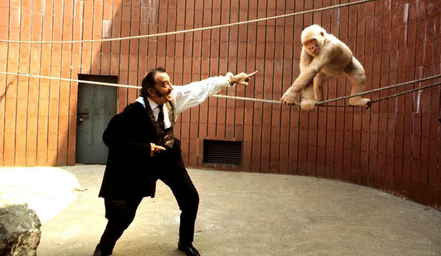 En juillet 1969, Dali défie le jeune gorille albinos du zoo de Barcelone.