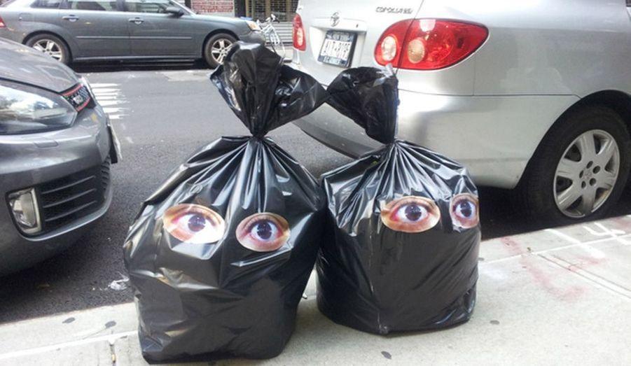 """A New York, les """"moto-crottes"""" chères à Jacques Chirac n'existent pas. Les ordures sont jetées dans la rues, enfermées dans de disgracieux sac-poubelles. Dans le cadre du festival Crossing The Line de la FIAF, l'artiste Bel Borba a trouvé un moyen astucieux pour les transformer en oeuvres d'art (projet Diario)."""