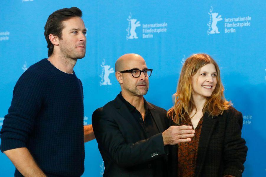 """Armie Hammer, Stanley Tucci et Clémence Poésy à la présentation de """"Final Portrait"""" à Berlin."""