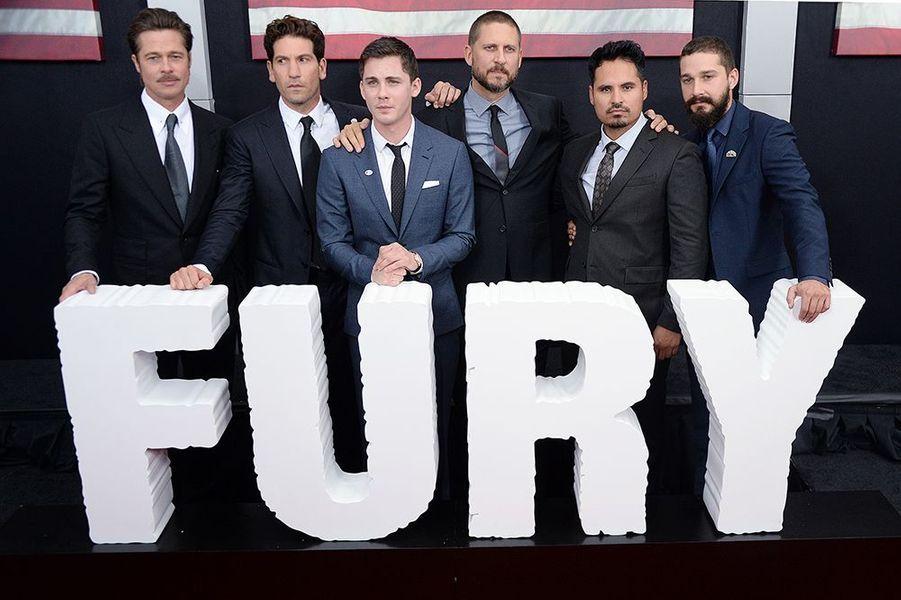 """L'équipe du film """"Fury"""" à Washington le mercredi 15 octobre 2014"""