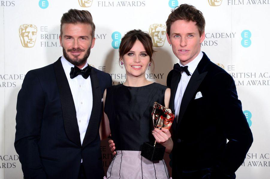 David Beckham, Felicity Jones et Eddie Redmayne à Londres le 8 février 2015