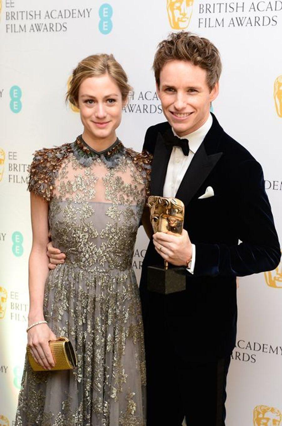 Hannah Bagshawe et Eddie Redmayne à Londres le 8 février 2015
