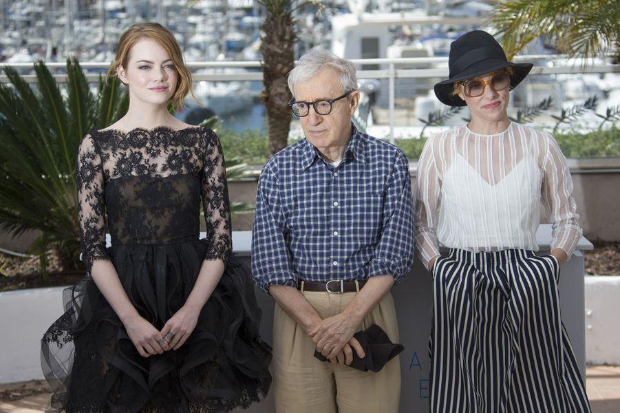 Emma Stone, Woody Allen et Parker Posey à Cannes le 15 mai 2015