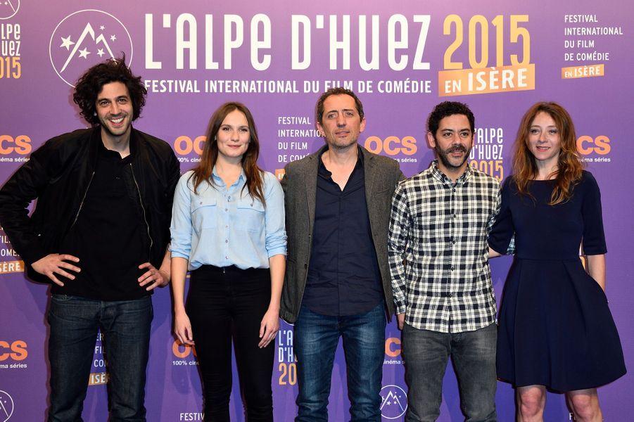 Max Boublil, Ana Girardot, Gad Elmaleh, Manu Payet et Sylvie Testud, jury de l'Alpe d'Huez 2015