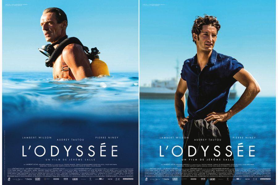 """Lambert Wilson dans la peau du Commandant Jean-Yves Cousteau et """"son fils"""" Pierre Niney dans la peau de Philippe, son fils."""