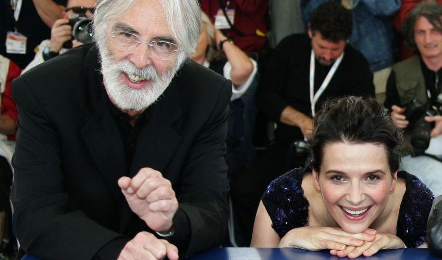 Cinq ans après Code Inconnu, Juliette Binoche retrouve Michael Haneke, dans Caché, qu'ils présentent ici à Cannes.