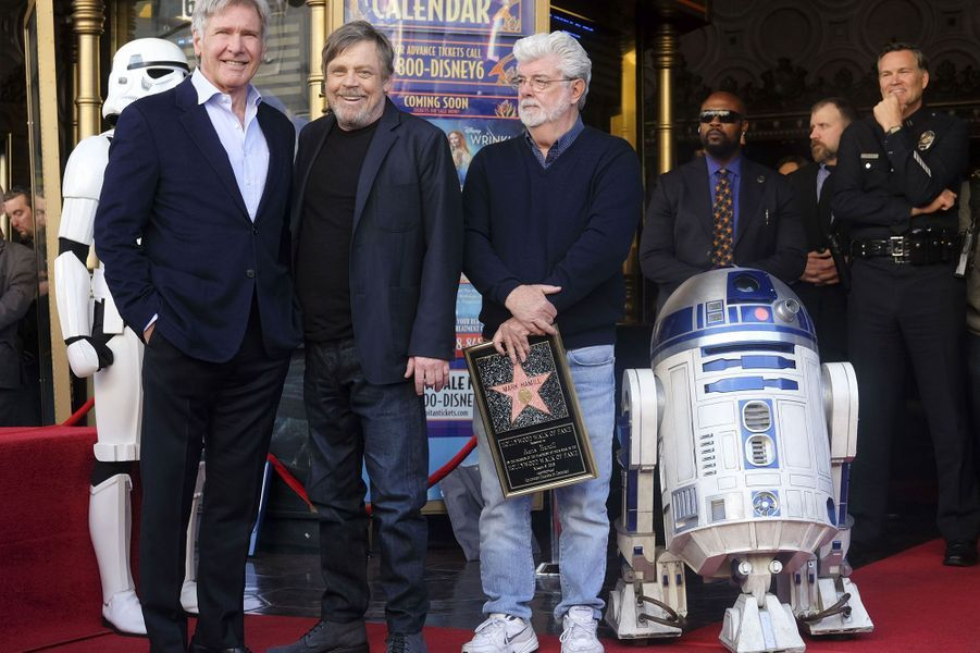 Harrison Ford, Mark Hamill et George Lucas
