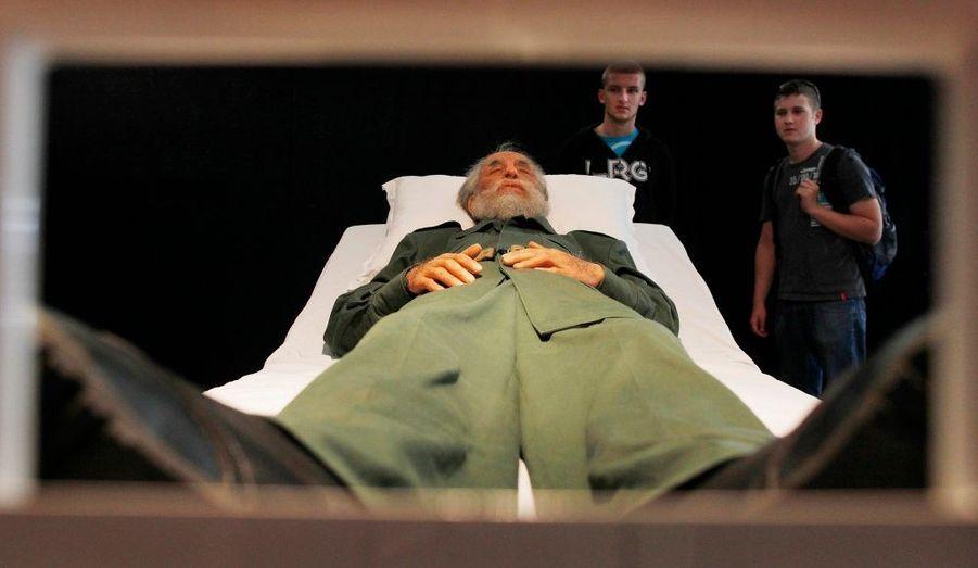 L'œuvre de l'artiste chinois Shen Shaoming représente en taille réelle deux des plus célèbres dirigeants communistes au monde, Fidel Castro (photo) et Mao Zedong, en train de dormir. Exposés à l'occasion de la 17ème Biennale de Sydney, les sculptures seront visibles pendant trois mois parmi les 440 travaux exposés.