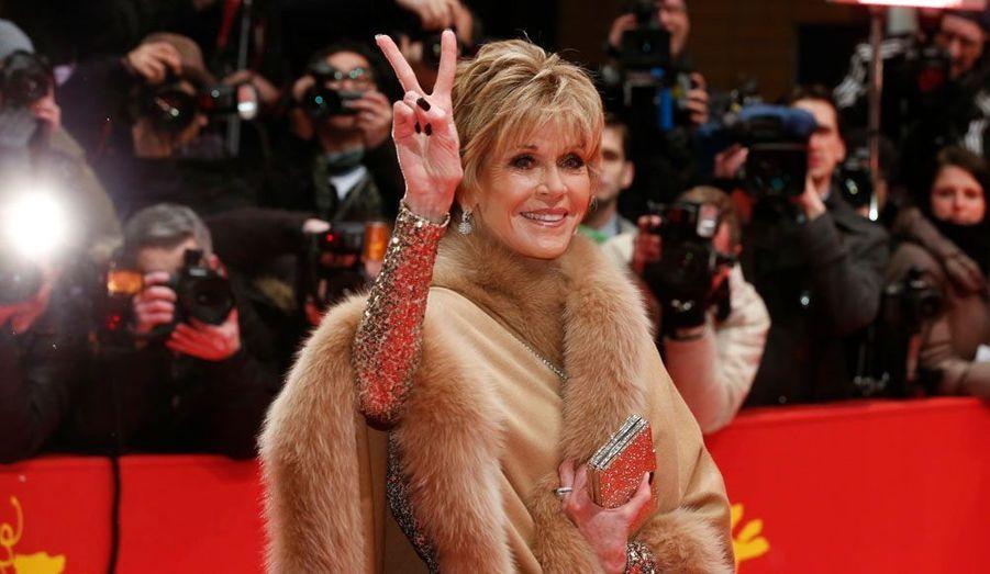 L'actrice américaine Jane Fonda était présente dans la capitale allemande pour la cérémonie d'ouverture du 66e Festival de Berlin.