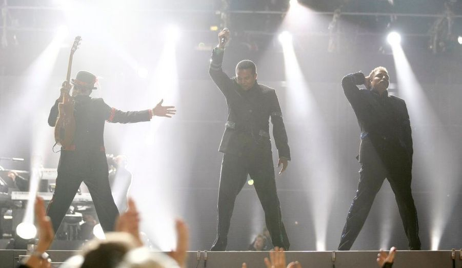 Les Jackson Brothers, lors du concert donné en hommage au Roi de la pop, au Millennium Stadium de Cardiff, au Pays de Galles.