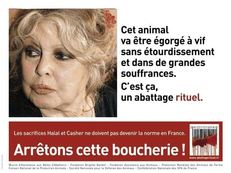 Brigitte Bardot a porté plainte contre X pour «provocation au meurtre» après une action menée par le «gang des fils de pub», qui a détourné une campagne publicitaire choc contre l'abattage rituel en utilisant l'image de la défenseure des animaux.