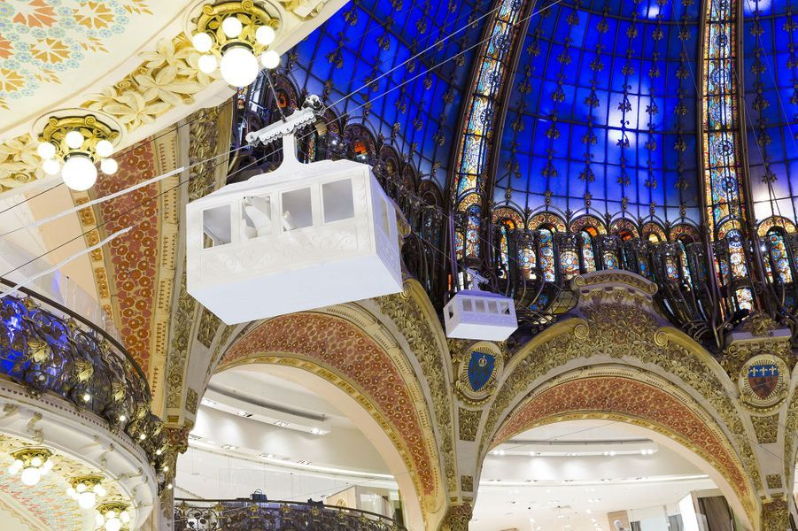 La décoration deNoël aux galeries Lafayette, à Paris