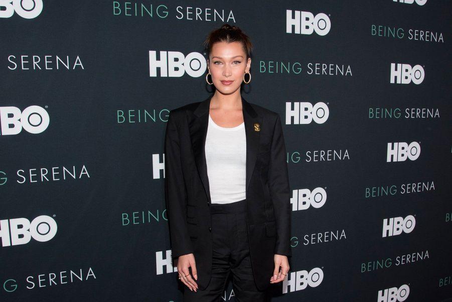 "Bella Hadid à l'avant-première de ""Being Serena"" à New York le 25 avril 2018"