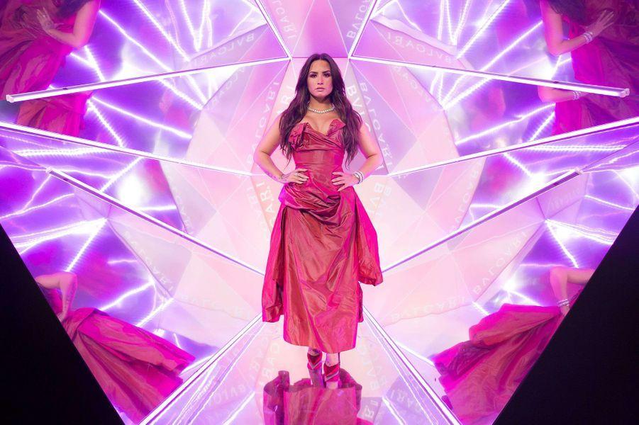 Demi Lovato lors de l'inauguration de la nouvelle boutique Bulgari à New York, le 20 octobre 2017.