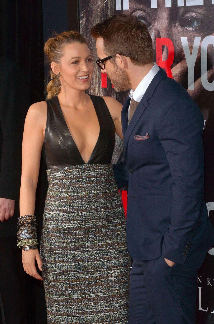 """Blake Lively et Ryan Reynolds à l'avant-première de """"Sans un bruit"""" à New York, lundi 2 avril"""
