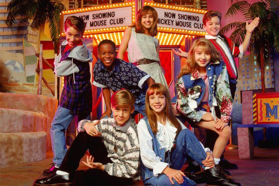 Britney Spears, dans l'émission Mickey Mouse Club avec notamment Christina Aguilera, Justin Timberlake et Ryan Gosling, en 1992