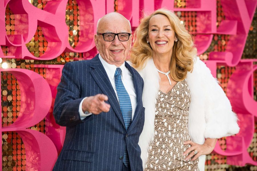 Rupert Murdoch et Jerry Hall, un couple jeune.
