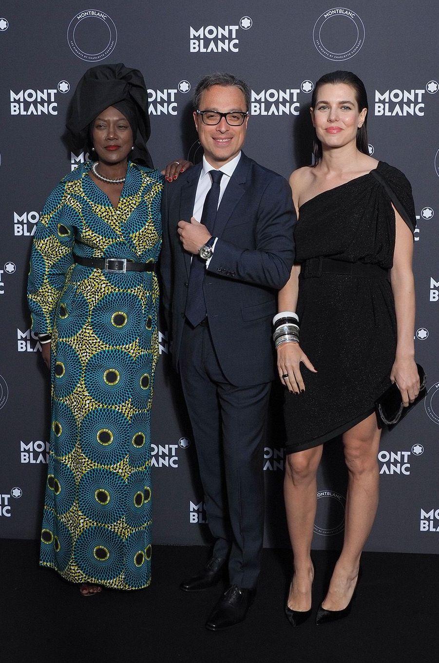 Khadja Nin, Nicolas Baretzki et Charlotte Casiraghi à la soirée Montblanc à Cannes, le 16 mai 2018.