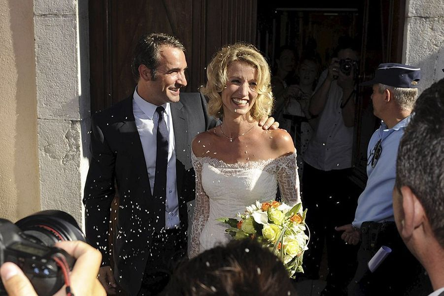 Alexandra Lamy lors de son mariage avec Jean Dujardin en juillet 2009