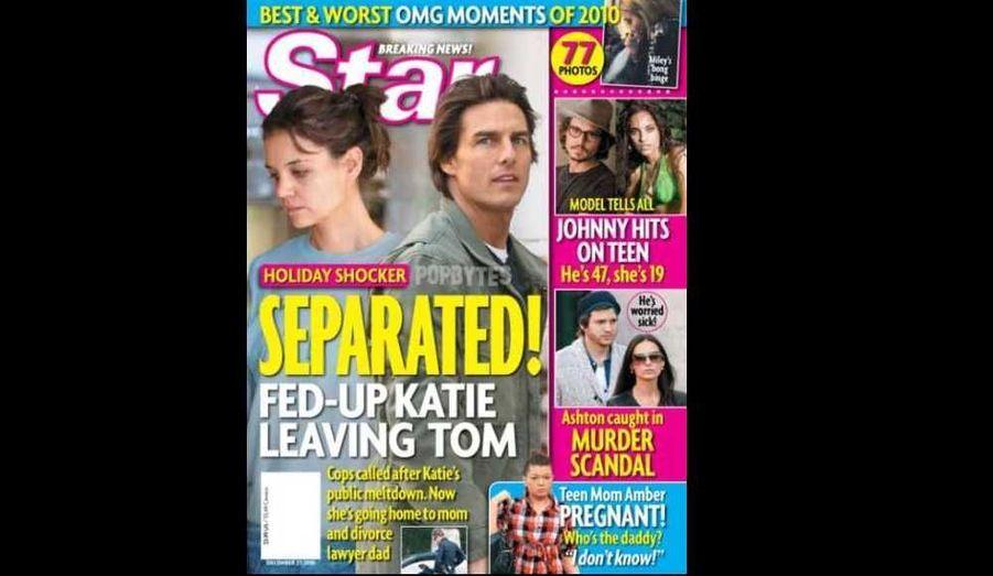Katie Holmes et Tom Cruise ajouteront-ils leurs noms à la longue liste des couples sacrifiés 2010 ? C'est ce que croit savoir le magazine Star, mais l'information est prise avec de grosses pincettes par tous les magazines people réputés sérieux. Le porte-parole de l'ex-héroïne de Dawson a d'ailleurs démenti la rumeur. Selon Star, l'actrice serait partie dans l'Ohio chez sa mère avec Suri, lassée de ne jamais voir son mari. Peut-être s'agit-il seulement d'un petit séjour pour les vacances ? Si tel était le cas, son retour au foyer conjugal (ou non) sera attendu de pieds fermes par les paparazzi. A noter que dans la même édition, le journal (qui fait fort) révèle une prétendue aventure de Johnny Depp avec une jeune femme de 19 ans, et qu'Ashton Kutcher serait lié à une affaire d'assassinat...