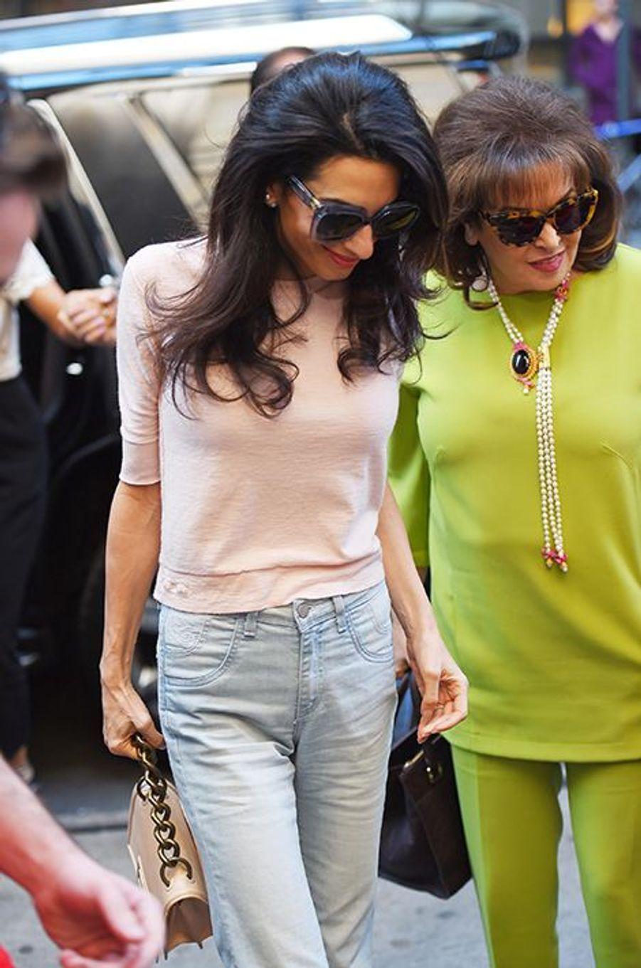 Amal Clooney et Baria Alamuddin à New York le 2 mai 2015