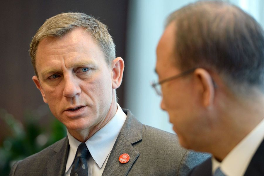 Daniel Craig et Ban Ki-moon à New York le 14 avril 2015