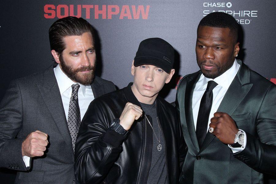 Jake Gyllenhaal, Eminem et 50 Cent à New York le 20 juillet 2015