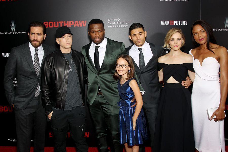 """L'équipe du film """"Southpaw"""" à New York le 20 juillet 2015"""