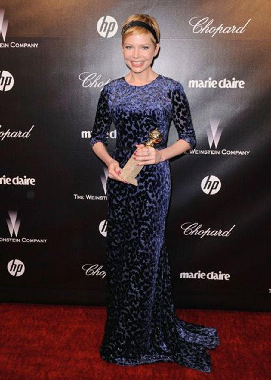 """L'actrice Michelle Williams a été récompensée. Son film """"My Week with Marilyn"""" est également distribué par les frères Weinstein."""