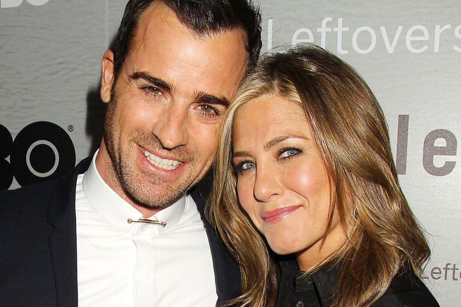 Jennifer Aniston et son fiancé Justin Theroux à New York le 23 juin 2014.