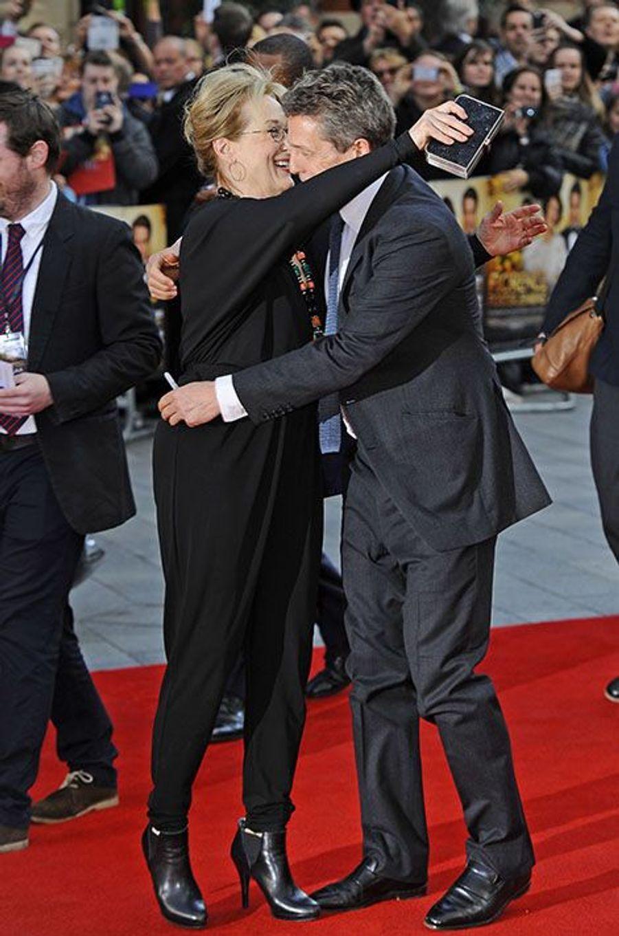 Meryl Streep et Hugh Grant, duo complice à Londres, le 12 avril 2016