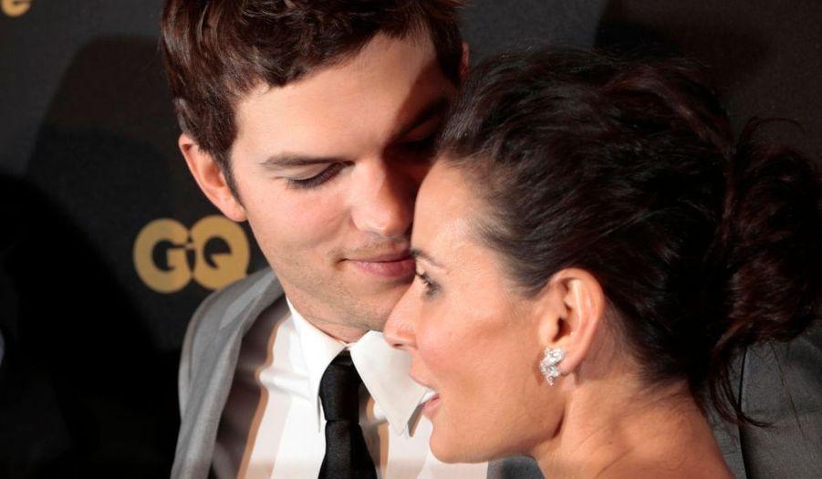 """Ashton Kutcher, visiblement toujours aussi amoureux de Demi Moore, au """"Gentleman's Ball"""" de GQ à New York."""