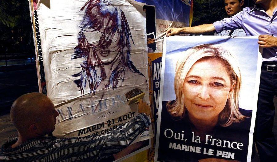 Après les multiples provocations de Madonna à l'encontre de Marine Le Pen, des activistes du Front National s'apprêtent à recouvrir une affiche annonçant la venue de la star à Nice, par une de la présidente de leur parti.