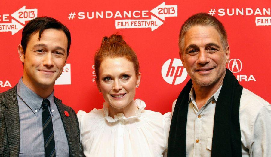 """Joseph Gordon-Levitt, Julianne Moore et Tony Danza, l'équipe de """"Don Jon's Addiction"""", à la première du film lors du Festival de Sundance."""