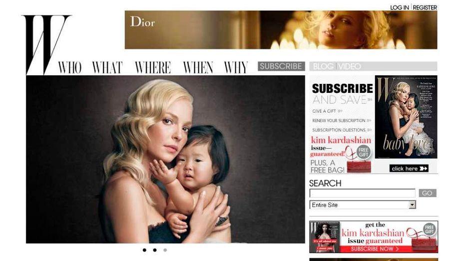 Dans son numéro de décembre, le magazine W a réalisé une très belle série de photos de famille, pour illustrer son sujet sur les valeurs familiales. On y trouve notamment Katherine Heigl (Grey's anatomy), magnifique avec sa petite Naleigh, 2 ans, adoptée en septembre 2009 en Corée.