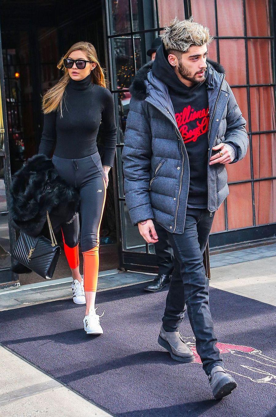 Gigi Hadid et Zayn Malik à New York le 8 janvier 2016