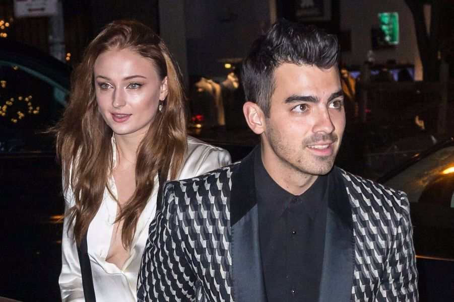 Sophie Turner et Joe Jonas à leur soirée de fiançailles, le 4 novembre 2017 à New York.