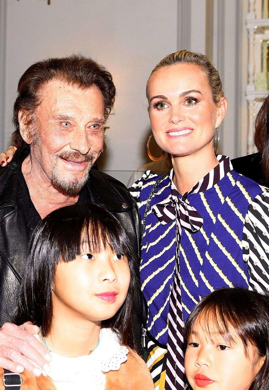 Johnny et Laeticia Hallyday et leurs filles Jade et Joy