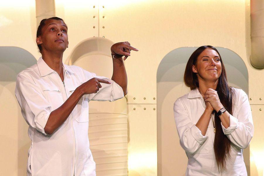Stromae et son épouse Coralie Barbier présentent leur collection capsule Mosaert x Bon Marché, à Paris, vendredi 6 avril