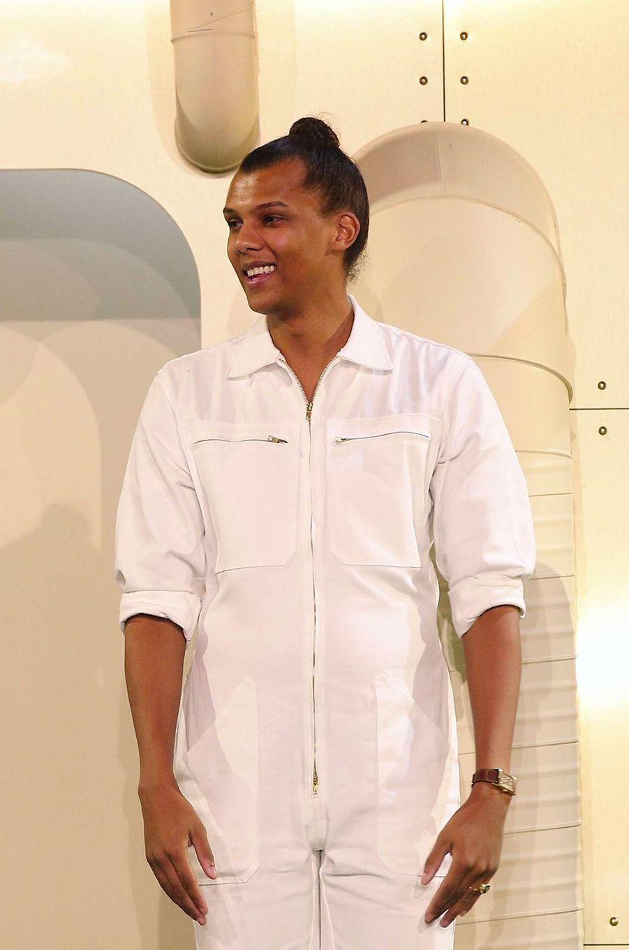 Stromae présente la collection capsule Mosaert x Bon Marché, à Paris, vendredi 6 avril